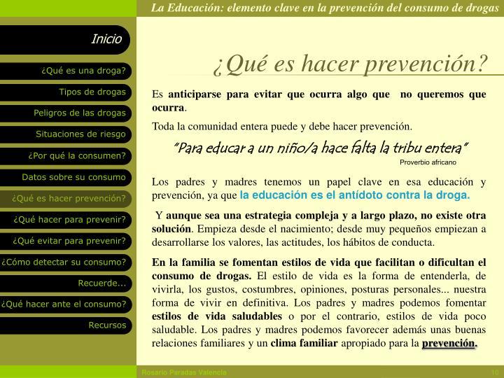 ¿Qué es hacer prevención?