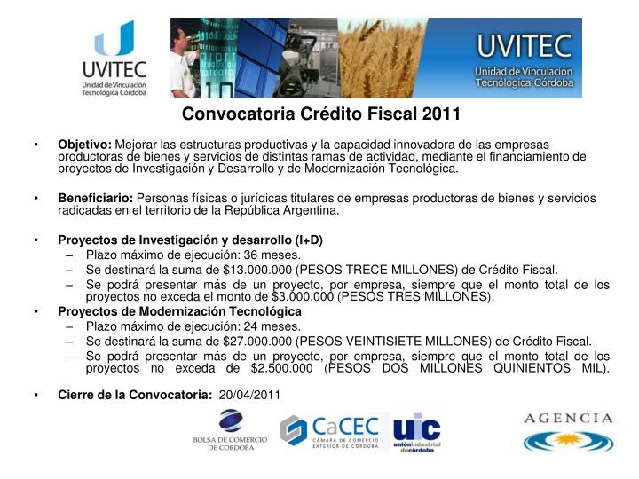 Convocatoria Crédito Fiscal 2011