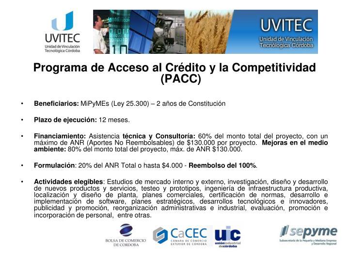 Programa de Acceso al Crédito y la Competitividad (PACC)