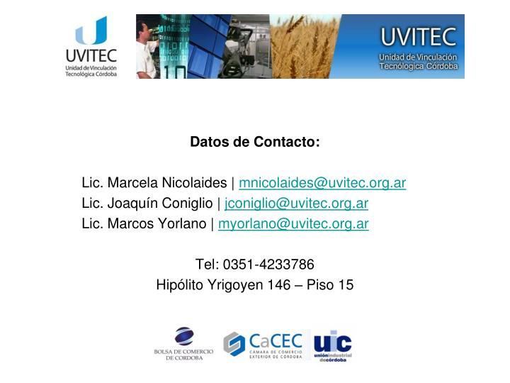 Datos de Contacto: