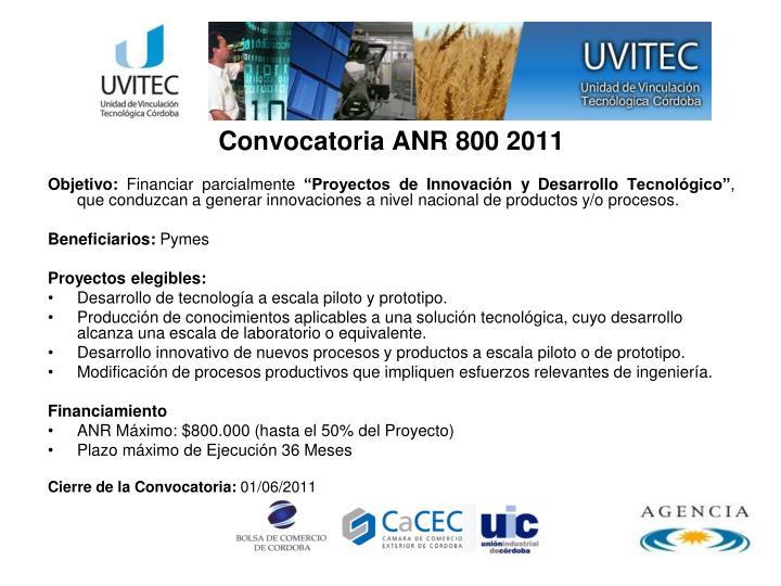 Convocatoria ANR 800 2011