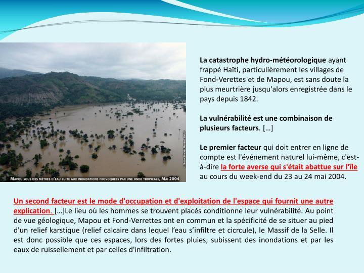La catastrophe hydro-météorologique