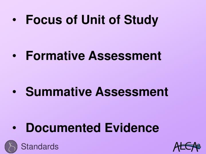 Focus of Unit of Study
