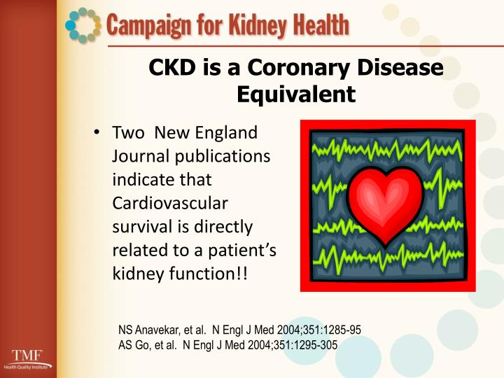 CKD is a Coronary Disease Equivalent