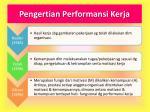 pengertian performansi kerja