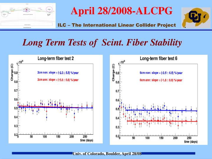 Long Term Tests of  Scint. Fiber Stability