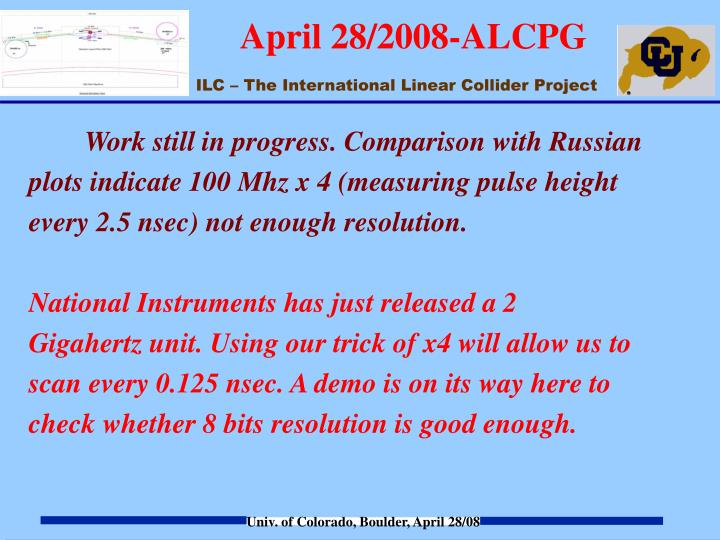 Work still in progress. Comparison with Russian