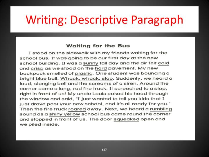Writing: Descriptive Paragraph