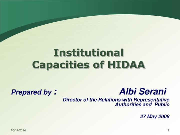 Institutional capacities of hidaa