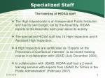 specialized staff