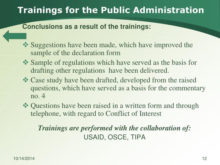 Trainings for the Public Administration