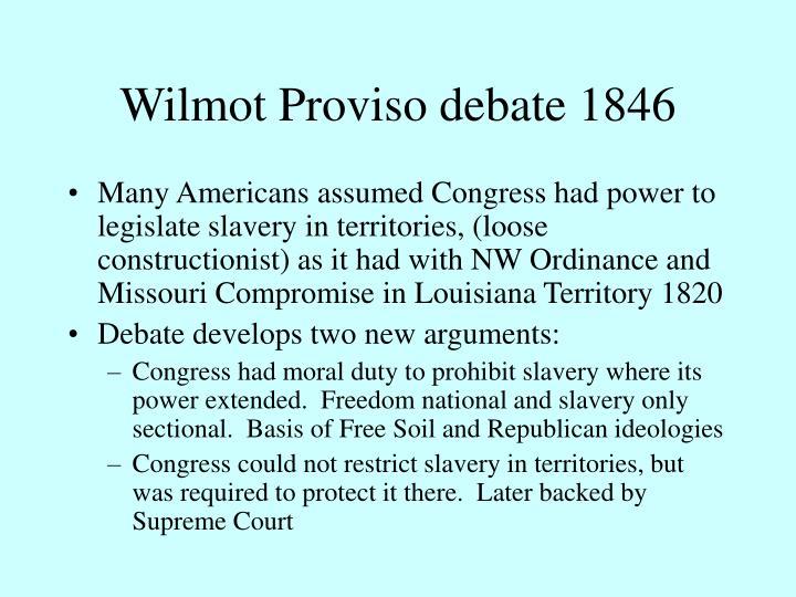 Wilmot Proviso debate 1846