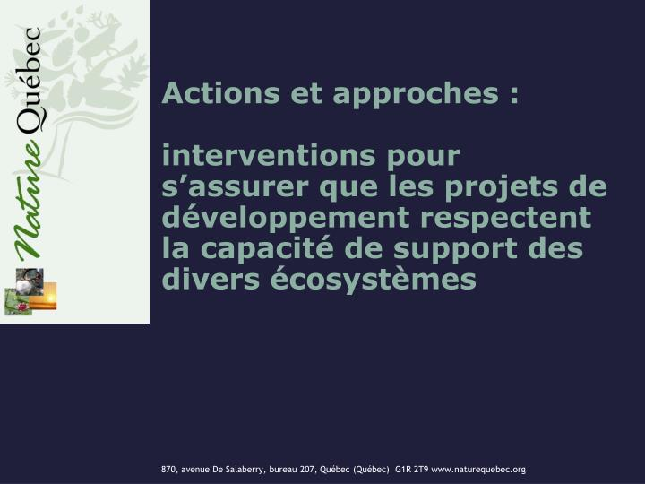 Actions et approches :