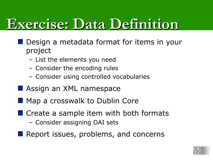 Exercise: Data Definition
