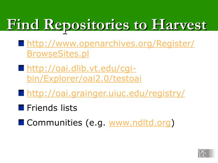 Find Repositories to Harvest