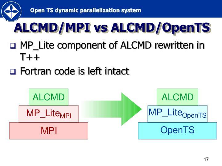 ALCMD/MPI vs ALCMD/OpenTS