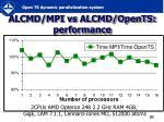 alcmd mpi vs alcmd opents performance