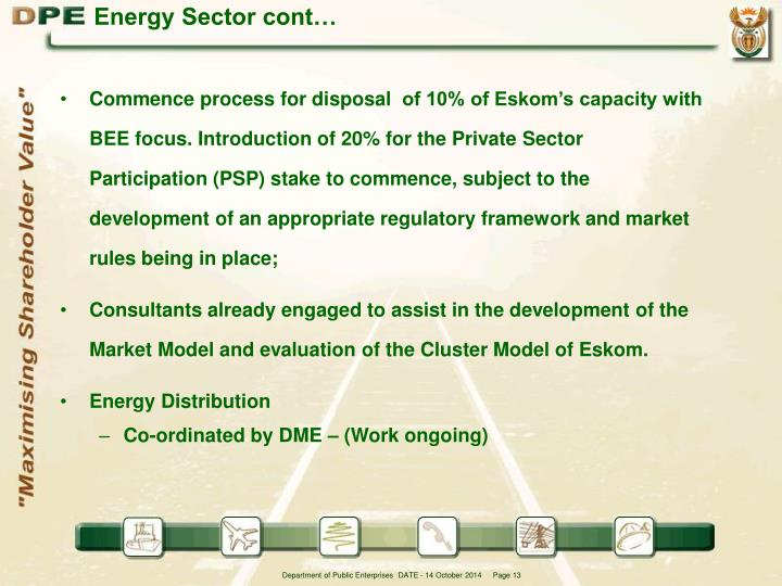 Energy Sector cont…