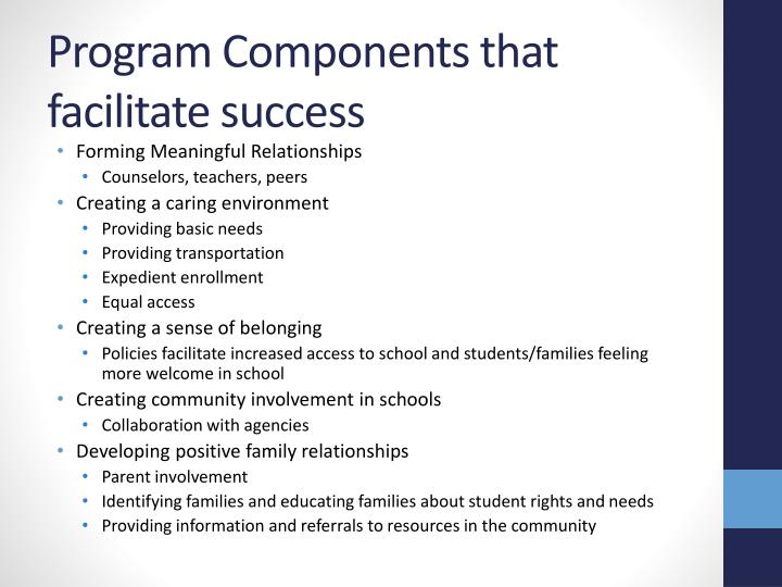 Program Components that facilitate success