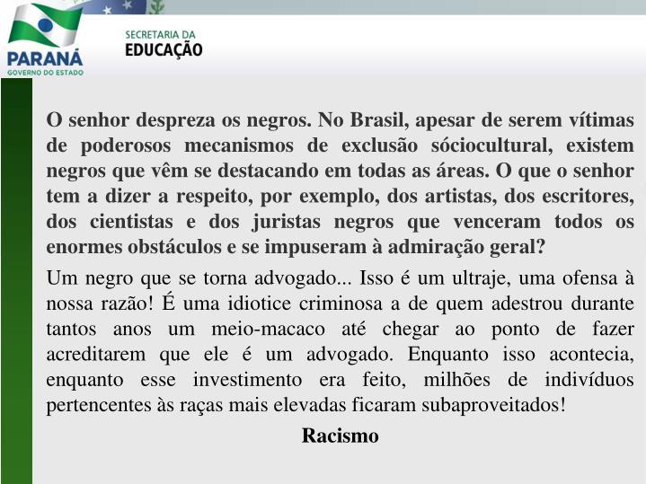 O senhor despreza os negros. No Brasil, apesar de serem vítimas de poderosos mecanismos de exclusão sóciocultural, existem negros que vêm se destacando em todas as áreas. O que o senhor tem a dizer a respeito, por exemplo, dos artistas, dos escritores, dos cientistas e dos juristas negros que venceram todos os enormes obstáculos e se impuseram à admiração geral?
