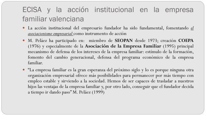 ECISA y la acción institucional en la empresa familiar valenciana
