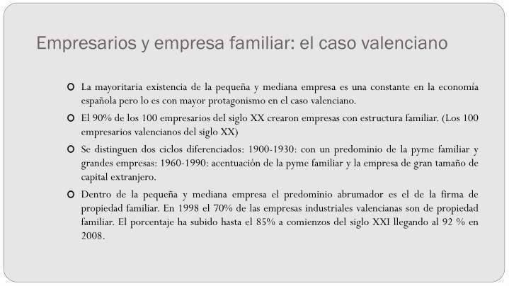 Empresarios y empresa familiar: el caso valenciano