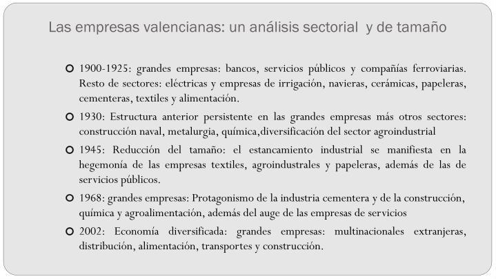 Las empresas valencianas: un análisis sectorial  y de tamaño