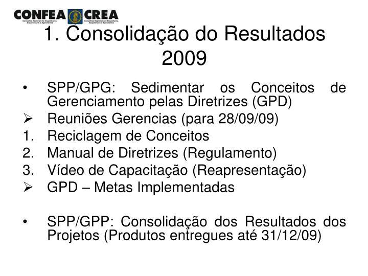 1. Consolidação do Resultados 2009
