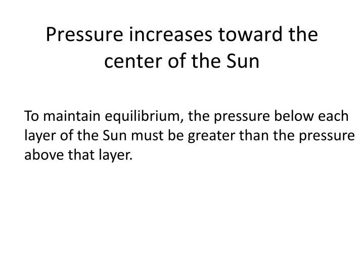 Pressure increases toward the center of the Sun