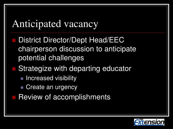 Anticipated vacancy