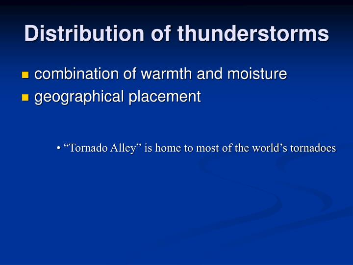 Distribution of thunderstorms