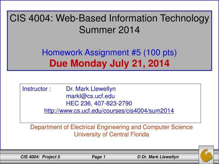 CIS 4004: Web-Based Information Technology