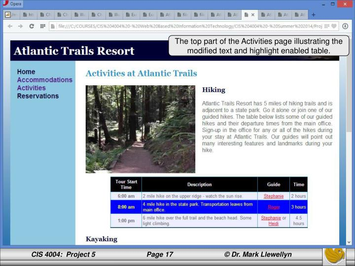 The top part of the Activities page illustrating the modified text and highlight enabled table.