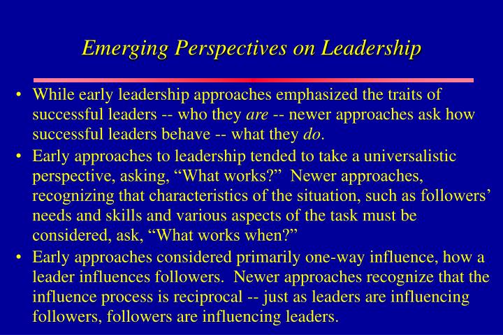 Emerging Perspectives on Leadership