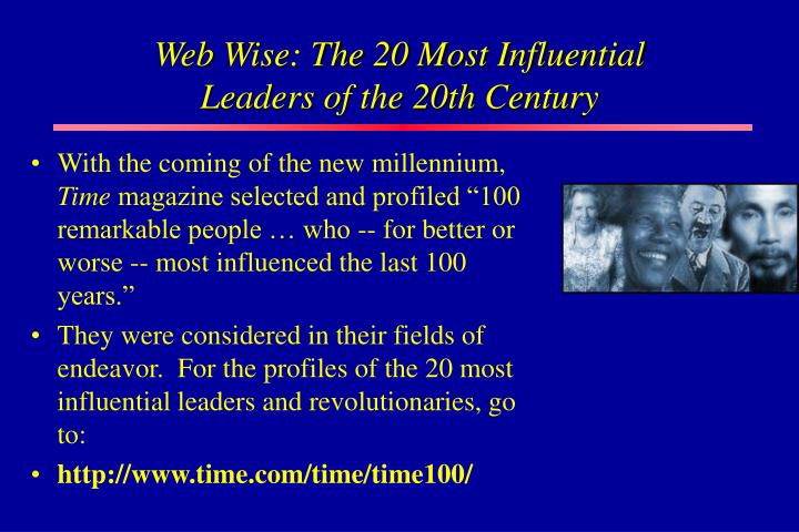 Web Wise: The 20 Most Influential