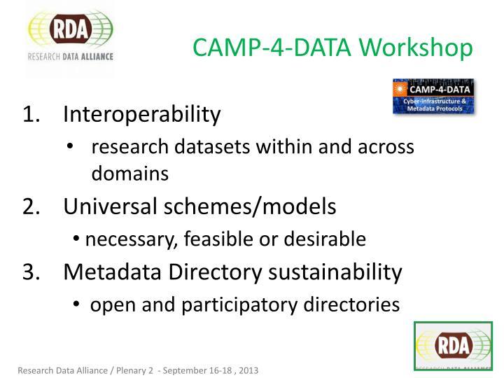 CAMP-4-DATA Workshop