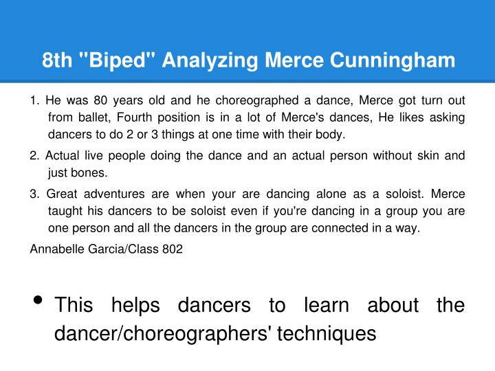 "8th ""Biped"" Analyzing Merce Cunningham"