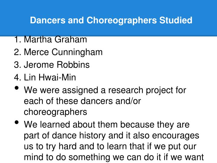 Dancers and Choreographers Studied
