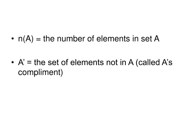 n(A) = the number of elements in set A