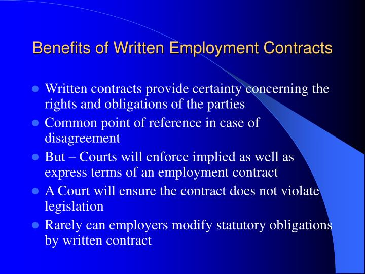 Benefits of Written Employment Contracts