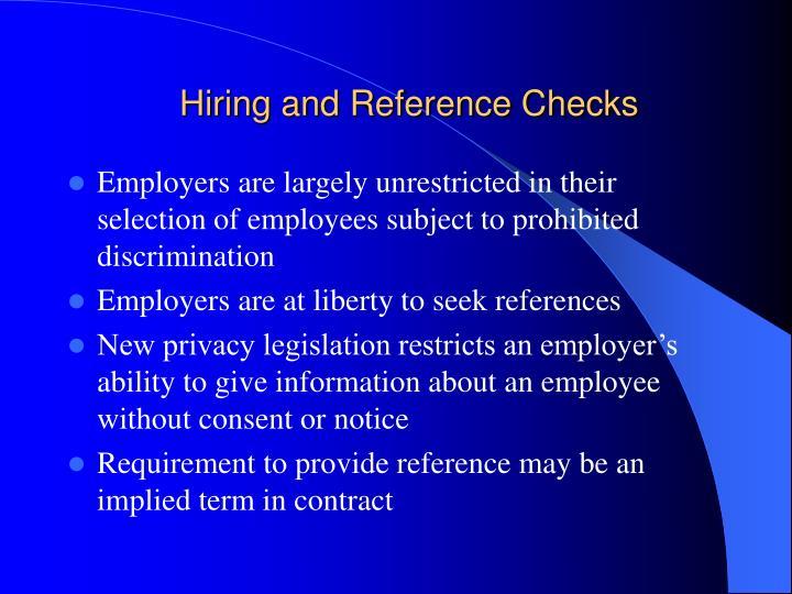 Hiring and Reference Checks