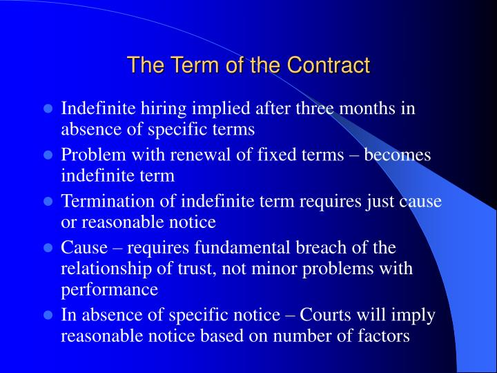The Term of the Contract