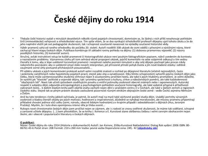 České dějiny do roku 1914