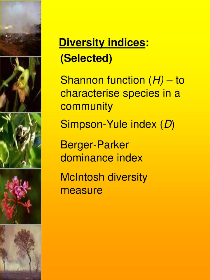 Diversity indices