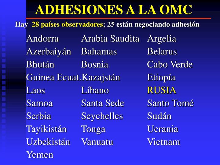 ADHESIONES A LA OMC