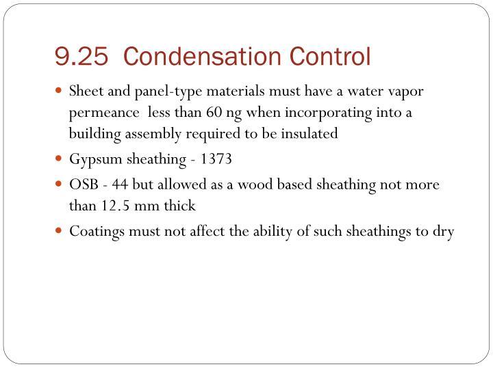 9.25  Condensation Control