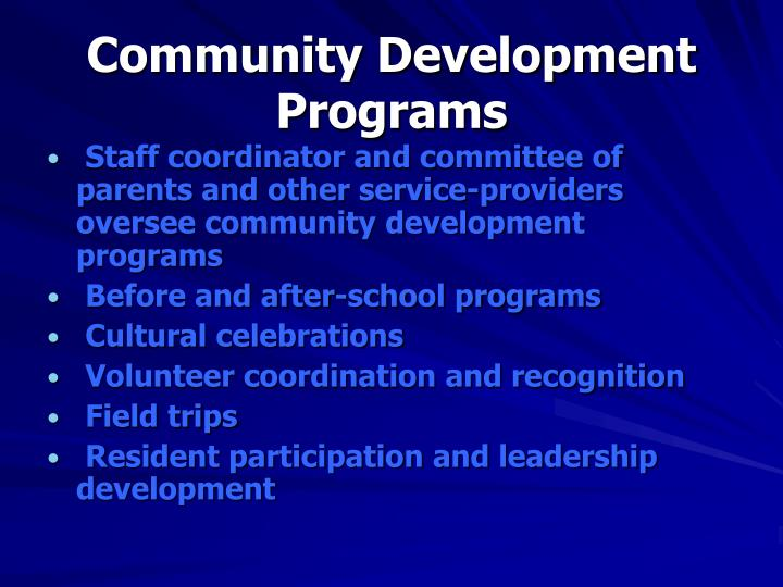 Community Development Programs
