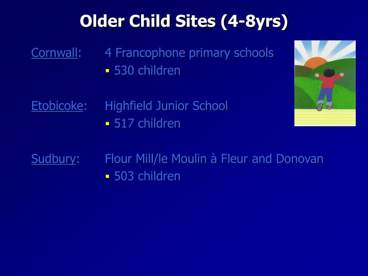 Older Child Sites (4-8yrs)