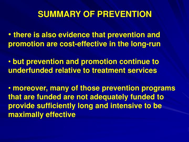 SUMMARY OF PREVENTION