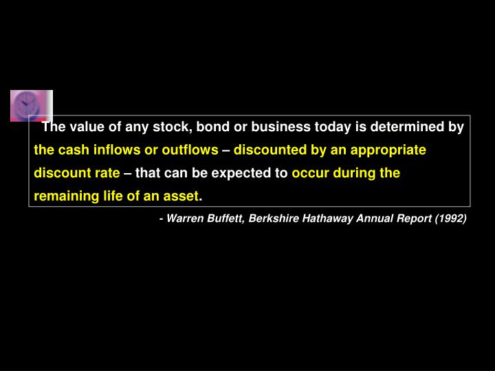 The value of any stock, bond or business today is determined by